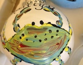 Blue Crab- White- hand-painted ornament