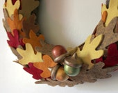 Autumn Wreath, Oak Leaves and Acorns Wreath, Fall Wreath, 10 inch Size