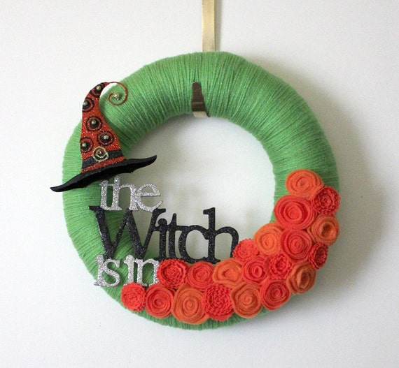 Witch Wreath, Halloween Wreath, Orange and Green Decor, 12 inch Size
