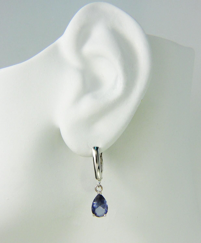 14K White Gold Dangle Lever Back Blue Spinel Pear Gemstone Drop ...