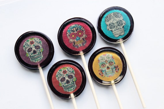 Sugar skull edible images flat style hard candy lollipop - 5 pc. - MADE TO ORDER