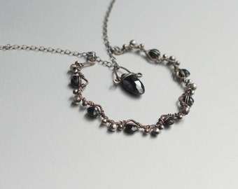 Black Spinel and Sterling Silver Necklace, Wire Wrapped, Artisan