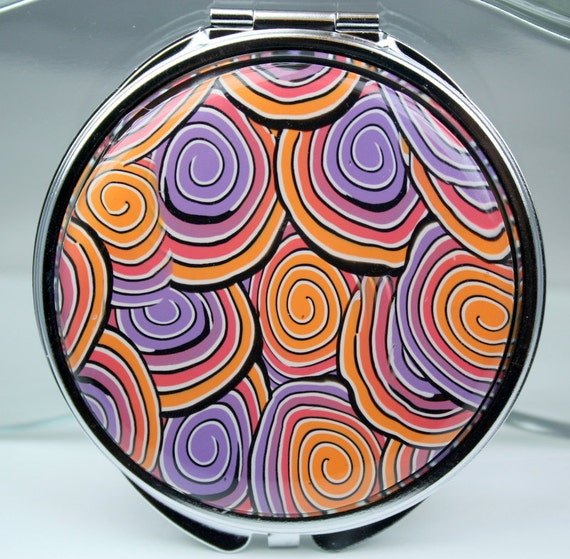 Compact mirror, polymer clay covered, Big spiral cane design, resin coating, double mirror, orange, purple, red