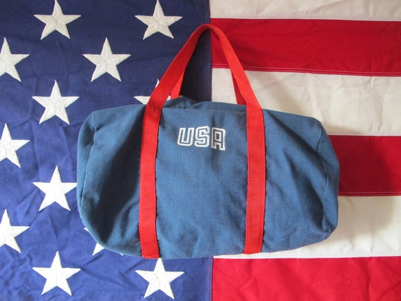 Vintage 70's USA Cotton Gym Tote Bag Red White and Blue