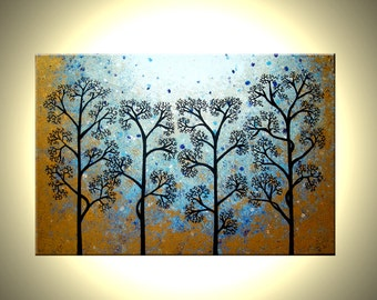 """Original Abstract Tree Painting, TEXTURED Abstract Metallic Gold Impasto Trees, 36x24"""" Lafferty - 22% Off Sale"""