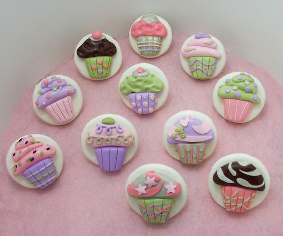 Two Cupcake Dresser Drawer Knobs Cabinet Pulls Cupcake Room