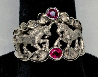 Double Unicorn Ring in White 14k Palladium Gold With Natural Rubies Size 7.5