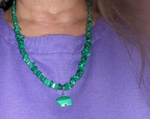 Long Necklace of Strikingly Rich Green Malachite Nuggets and Chips with Bear Pendent