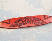 Tooled Leather Belt - Geometric Setting Sun in Red Leather - Custom Made to Order
