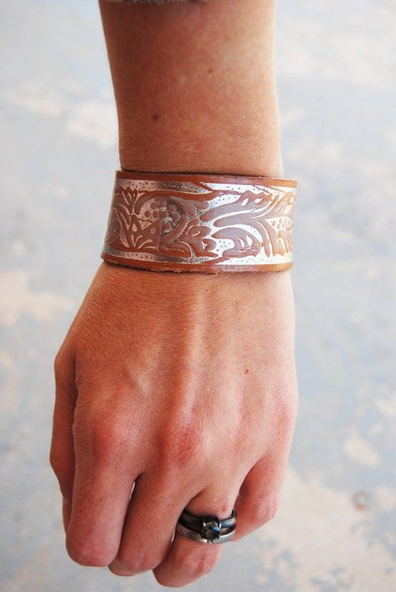 Leather Cuff Bracelet - Recycled Tooled Leather Metallic Silver Floral Cuff Bracelet