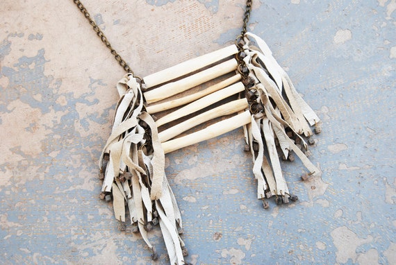 Tribal Breastplate Necklace - Modern Leather Fringe and Bone Large Native American Inspired Necklace - Modern Pocahontas Collection