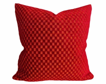 Red Christmas Pillows, Christmas in July, 12x18 Lumbar Pillow Cover, Solid Red Accent Pillow, Textured Chenille,  Red Cushion Covers