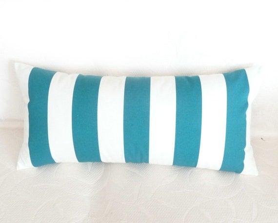 Marine Blue Throw Pillows : NEW Nautical Marine Blue and White Striped by PillowThrowDecor