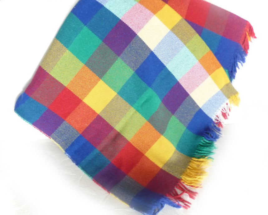 Colorful Plaid Winter Throw Blanket Bright By Pillowthrowdecor