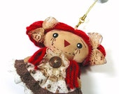 Dust Plug, Earphone Plug, Cap, Raggedy Ann , Cell phone strap , Cellphone Accessories - STY0023