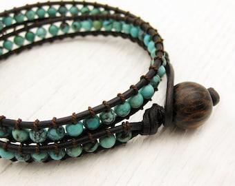 Natural Turquoise Leather Wrap Bracelet w/ Coconut Wood / sky robins egg sleeping beauty aqua teal blue grayed jade  /  unisex bohemian
