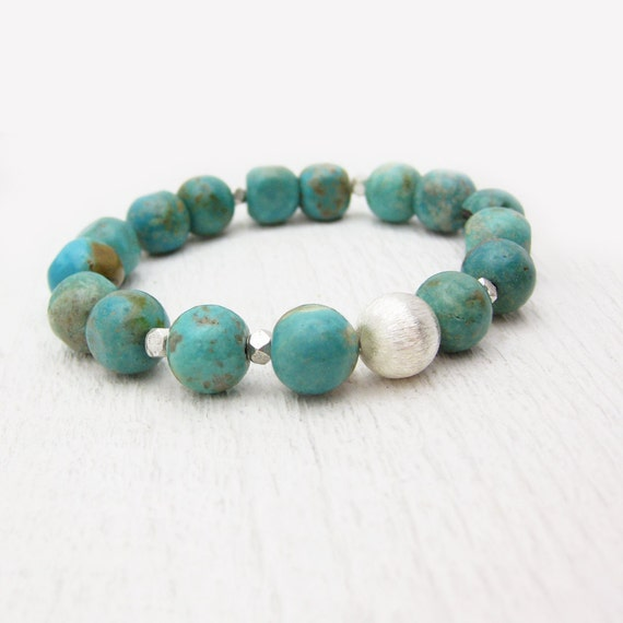 Turquoise Nuggets Statement Bracelet in Sterling Silver / natural raw stones / green aqua blue brown mint / bohemian southwestern inspired