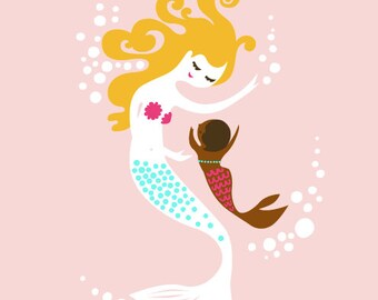 """8X10"""" mermaid mother & baby girl. adoption gift. light pink, turquoise, brown, blonde. giclee print on fine art paper."""