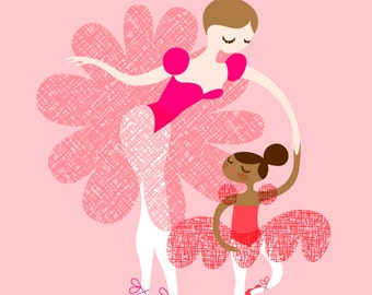 "8X10"" ballerina mother and daughter giclee print on fine art paper. adoption, mocha skin tone, brunette, pink and brown"