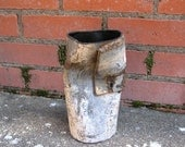 Metal Vase - Grey and White Upcycled Crushed - Industrial Decor