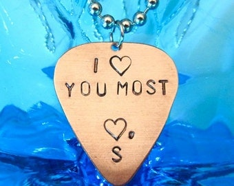 Guitar Pick Necklace, I LOVE YOU MOST initial