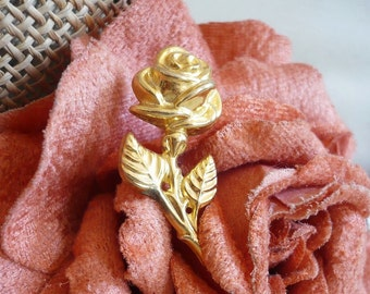 ROSA FRench Vintage Gold Rose Brooch