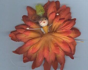 Red Head Flower Fairy with Orange Petals (017)