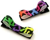 Rainbow Cheetah Hair Clips, Leopard Tuxedo Bows, Animal Print Hair Clips for Girls, Tuxedo Hairbow, Giraffe Bows, Baby, Toddler
