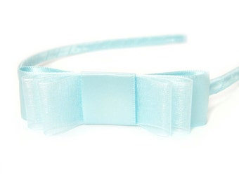 Baby Blue Headband, Blue Satin Headband, Satin Bow, Sheer Organza Headband, Pale Blue, Cornflower Blue, Sheer Hair Bow for Girls