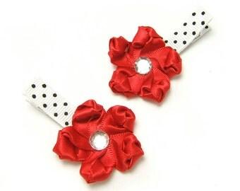 Red Satin Flower Hair Clips, White, Black Polka Dots, Fancy Chic Red Flower Clip Baby Toddler Girl