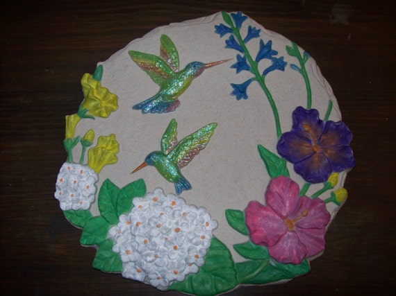Hand painted ceramic stepping stone by cinstreasures on etsy - Hand painted garden stones ...