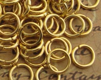8mm Gold Plated Open Jump Rings