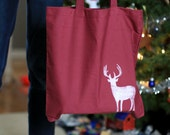 Maroon Christmas Reindeer Tote and Eco Gift Bag