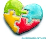 Puzzle Piece Heart Mosaic Tile Primary Colors Lapel Pin Brooch
