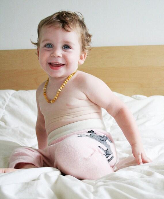 wool longies // pegasus pants - pink and cream - wool pants - longies - embroidered - single layer