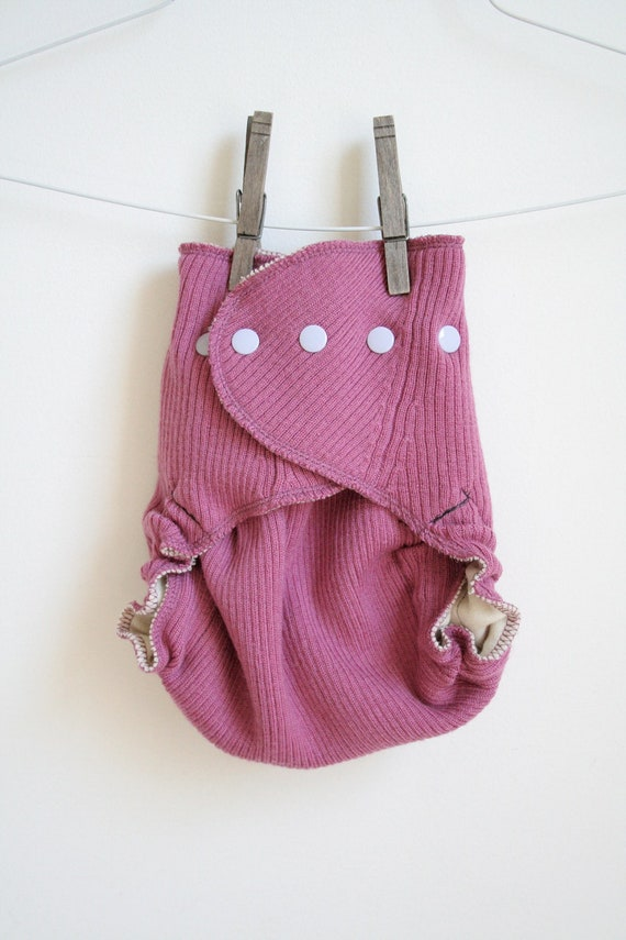 pink ribbed wool cover - wrap nappy cover - one size fits all - two full layers - Nifty Nappy
