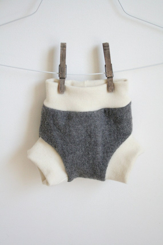 dark grey small soaker -- wool nappy cover -- pull on -- leak proof and bomb proof two full layers -- stripes