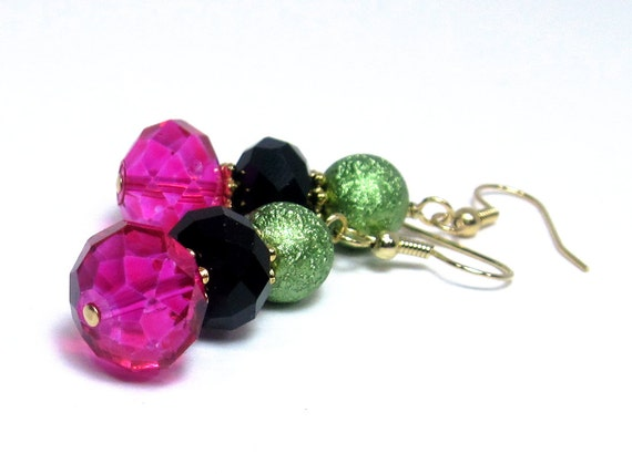 Lime Green, Hot Pink, and Black Earrings, Bright Jewelry, Colorful Dangle Earrings, Fuchsia, Bold Earrings