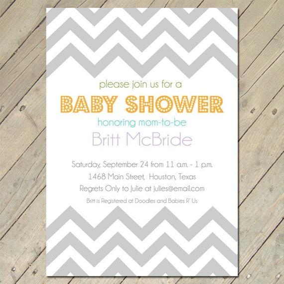 items similar to baby shower invitations chevron baby on etsy