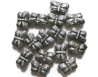 5mm x 9mm Butterfly Acrylic Beads (25) Antique Silver Colour