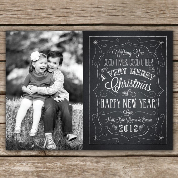 Christmas Chalkboard - DIGITAL Custom Christmas Holiday Photo Card: catchmyparty.com/vendors/product/christmas-chalkboard-digital...