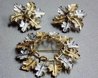 Sara Coventry Brooch and Clip Earrings/Signed Jewelry/Gold Silver Jewelry/Leaf, Leaves, Wreath/Costume Jewelry