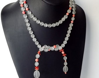 Lariat Flapper Necklace, Frosted Bead, Natural Coral, Gatsby Era Jewelry