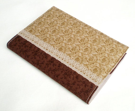 Fabric Journal - Tendrils - Handmade Fabric Cover A6 Notebook, Diary -  Beige and Tan Tendrils and Leaves With Brown Flowers