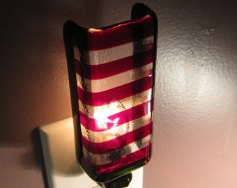 Glass Night Light - Red and Clear Striped Fused Glass Handmade Light for Bedroom or Bathroom, Housewarming gift