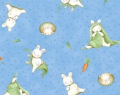 Who's A Bunny Blue Multi Tossed Animal  Cotton Juvenile Print Fabric by Quilting Treasures