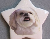Lhasa Apso dog, star ceramic ornament, free personalizing 22k gold by Nicole