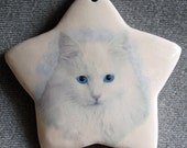 White Siberian cat star ornament, free personalizing 22k gold by Nicole
