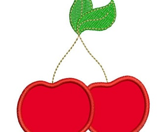Applique Cherries Cherry Strawberry Machine Embroidery Designs 4x4 & 5x7 Instant Download Sale