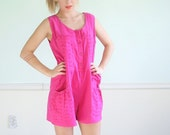 Sugar Popp Vintage 80s Early 90s Sleeveless Hot Pink Romper Playsuit M/L
